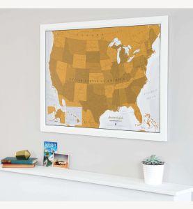 Scratch USA Print (Pinboard & wood frame - White)