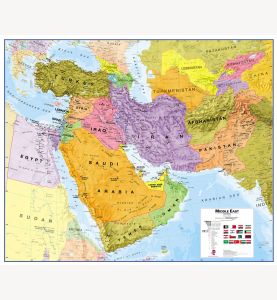 Large Middle East Wall Map Political (Laminated)