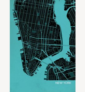 New York City Street Map Print Turquoise