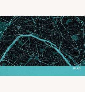 Paris City Street Map Print Turquoise