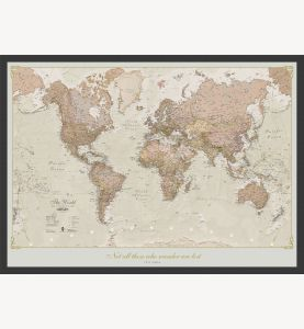 Medium Personalized Antique World Map (Pinboard & wood frame - Black)