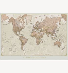 Medium Personalized Antique World Map (Pinboard)
