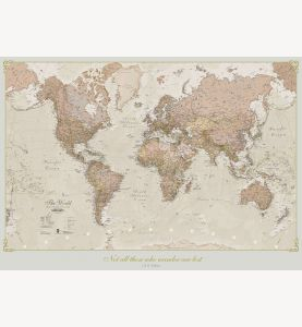 Small Personalized Antique World Map (Laminated)