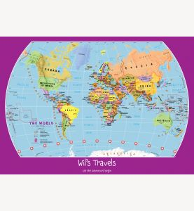 Large Personalized Child's World Map (Laminated)