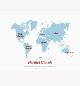 Small Personalized Travel Map of the World - Aqua (Laminated)