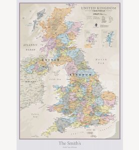 Personalized UK Classic Wall Map