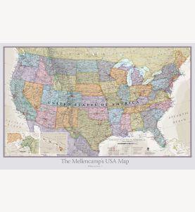 Large Personalized USA Classic Wall Map (Laminated)