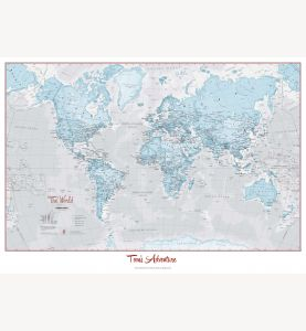 Huge Personalized World Is Art - Wall Map Aqua (Paper)