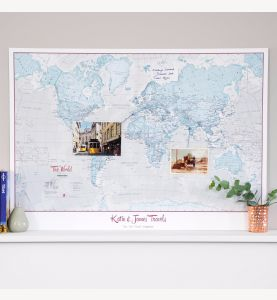 Personalized World Is Art - Wall Map Aqua