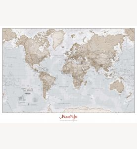Medium Personalized World Is Art - Wall Map Neutral (Paper)