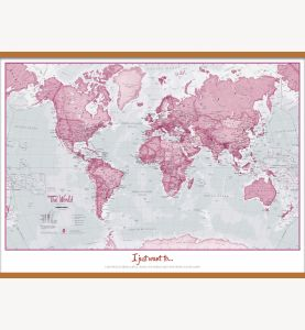 Huge Personalized World Is Art - Wall Map Pink (Wooden hanging bars)
