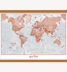 Medium Personalized World Is Art - Wall Map Red (Wooden hanging bars)