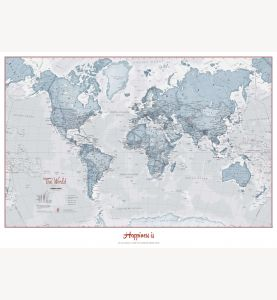 Small Personalized World Is Art - Wall Map Teal (Laminated)