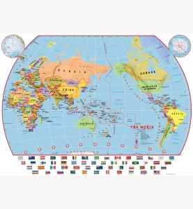 Huge Primary Pacific Centred World Wall Map Political with flags (Paper)