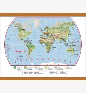 Medium Primary World Wall Map Environmental (Wooden hanging bars)