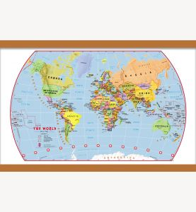 Small Primary World Wall Map Political (Wooden hanging bars)
