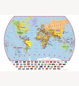 Small Primary World Wall Map Political with flags (Laminated)