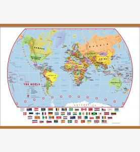 Large Primary World Wall Map Political with flags (Wooden hanging bars)