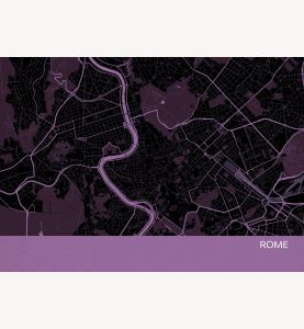 Rome City Street Map Print Mauve