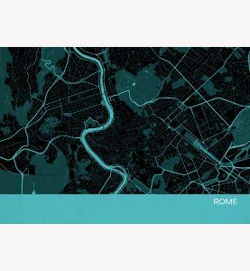 Rome City Street Map Print Turquoise