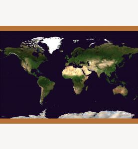 Medium Satellite Map of the World (Wooden hanging bars)