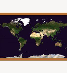 Medium Satellite Map of the World (Wooden hanging bars)