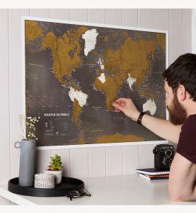 Scratch the World® black edition map print