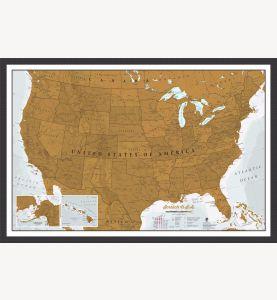 Scratch USA Print (Pinboard & wood frame - Black)