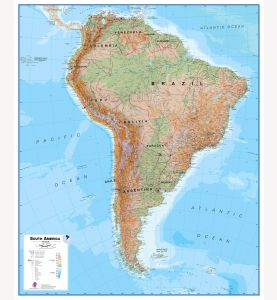 Large South America Wall Map Physical (Paper)