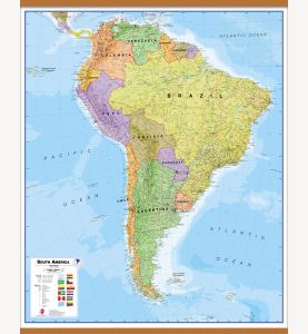 Large South America Wall Map Political (Wooden hanging bars)