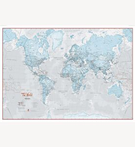 Small The World Is Art - Wall Map Aqua (Laminated)