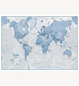 Large The World Is Art - Wall Map Blue (Laminated)