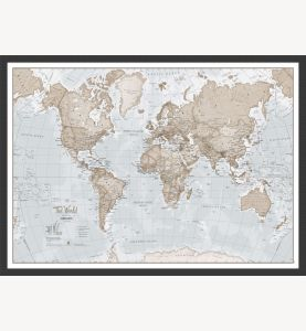 Small The World Is Art - Wall Map Neutral (Wood Frame - Black)