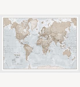 Small The World Is Art - Wall Map Neutral (Wood Frame - White)