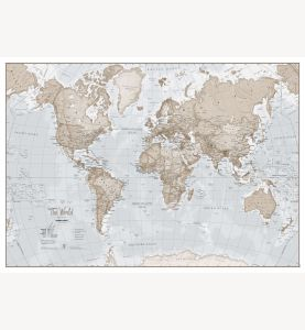 Large The World Is Art - Wall Map Neutral (Laminated)