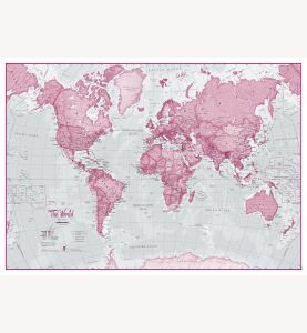 Small The World Is Art - Wall Map Pink (Laminated)