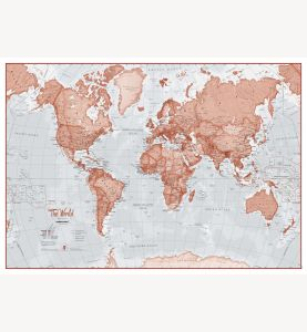 Large The World Is Art - Wall Map Red (Paper)