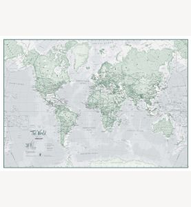 Small The World Is Art - Wall Map Rustic (Laminated)