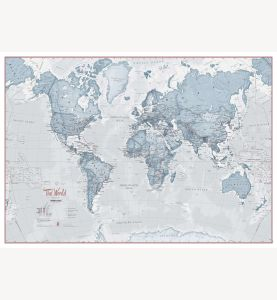 Small The World Is Art - Wall Map Teal (Laminated)