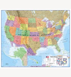 Large USA Wall Map Political (Laminated)