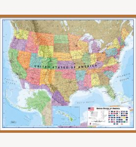 Large USA Wall Map Political (Wooden hanging bars)