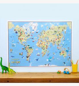 Kids Cartoon World Map (Silk Art Paper)