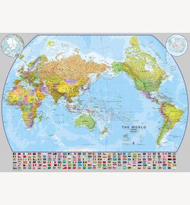 Large World Pacific-centred Wall Map with flags (Laminated)