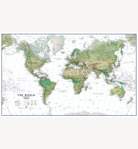 Large World Wall Map Environmental White Ocean (Laminated)
