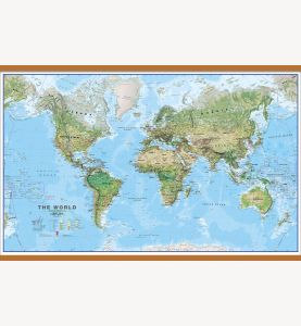 Large World Wall Map Environmental (Wooden hanging bars)