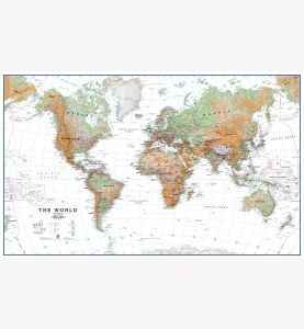 Large World Wall Map Physical White Ocean (Laminated)