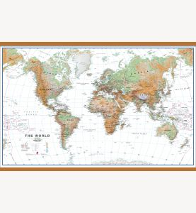Large World Wall Map Physical White Ocean (Wooden hanging bars)