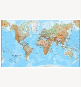Large World Wall Map Physical (Laminated)