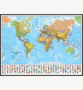 Large World Wall Map Political with flags (Wood Frame - Black)