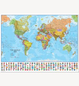 Large World Wall Map Political with flags (Pinboard)